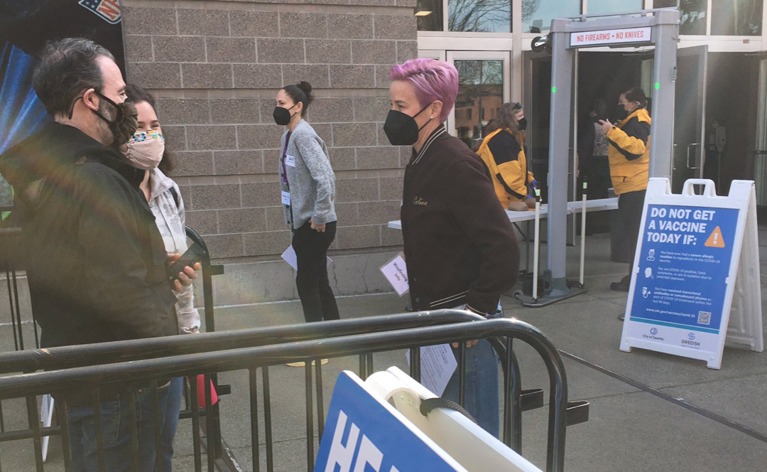 Sue Bird and Megan Rapinoe Act as Greeters at Covid Vaccination Site in Seattle