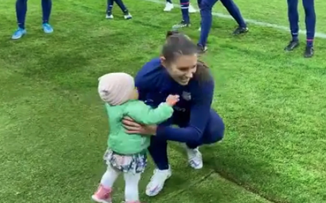 Alex Morgan's Baby Daughter Charlie Walks Along the Sidelines at Soccer Practice in Adorable Video